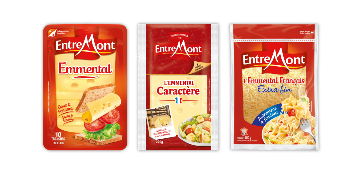 Entremont Emmental Caractere and Grated cheeses